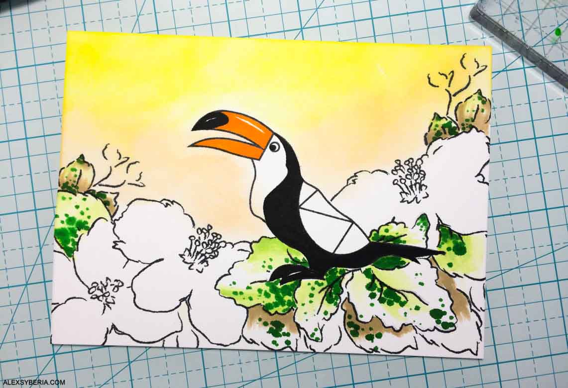 How To Make a Tropical Scene | Altenew | Krumspring Stamps