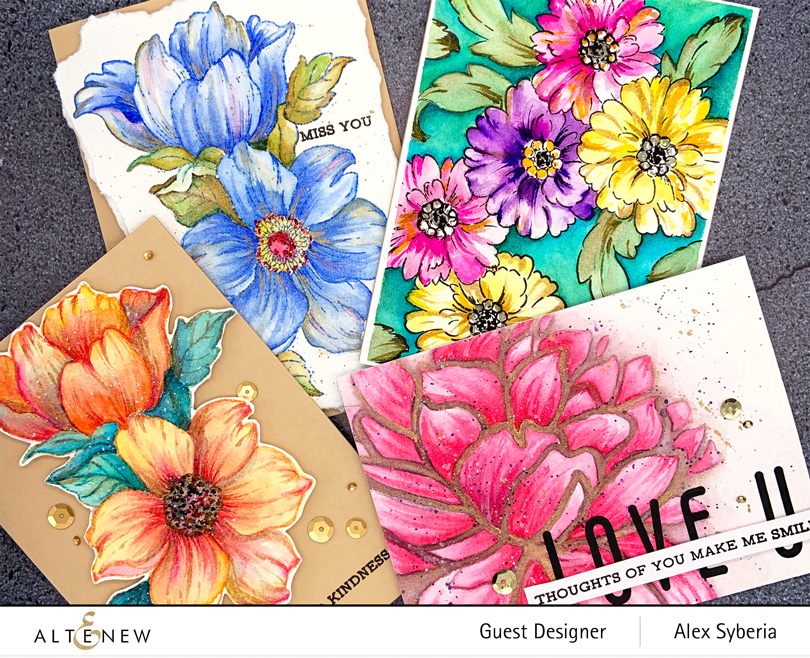 altenew-statement-flowers-watercolor-technique-maga-bloom-stencil-precious-cards